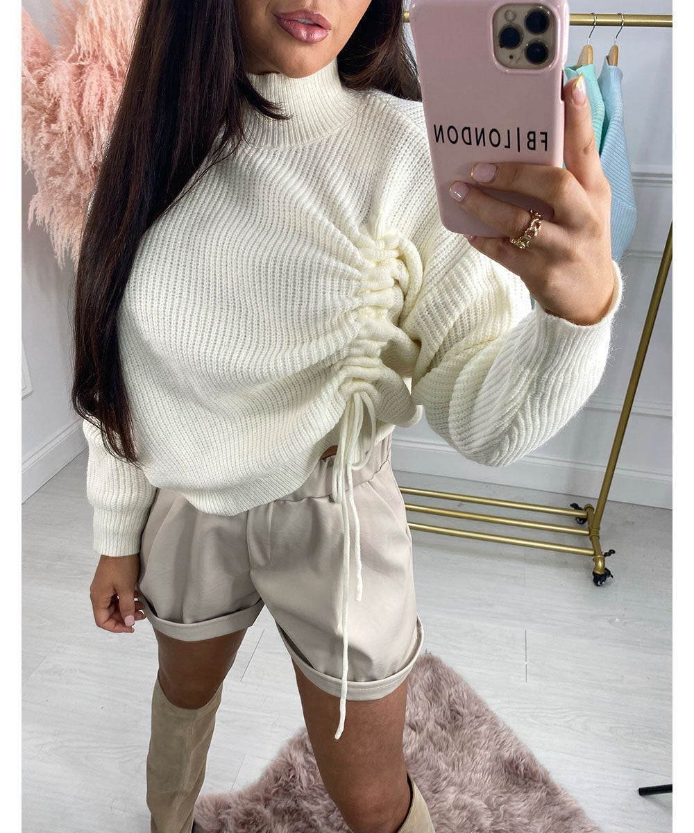 Side Ruched Knit Jumper In Cream