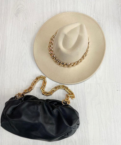 Chain Fedora Hat In Cream