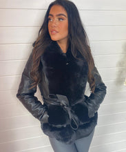 Faux Fur Short Leather Jacket In Black