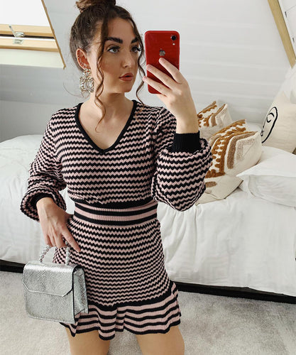 Pink Stripe Knitted Skirt Set