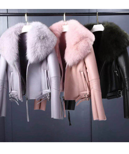 Leather Fur Collar Jacket