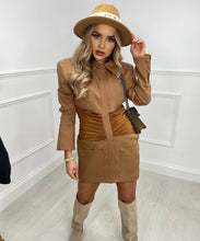 BELLA Ruched Dress In Tan