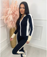 Contrast Zip Lounge Set In Black/Beige