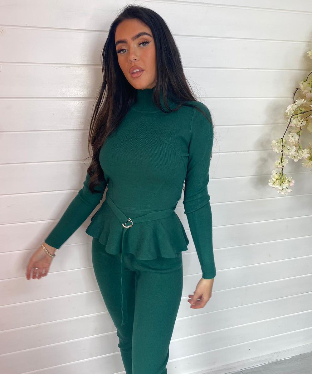 Peplum Belt Lounge Set - Emerald Green