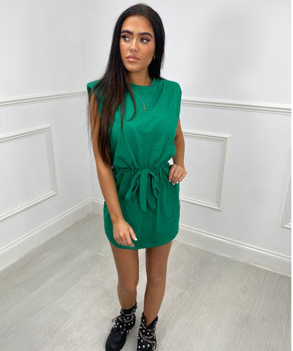 Shoulder Padded Belt Dress - Emerald Green