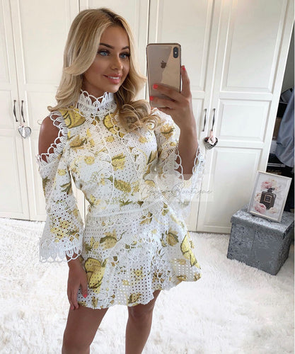 Lemon Cut Out Shoulder Dress
