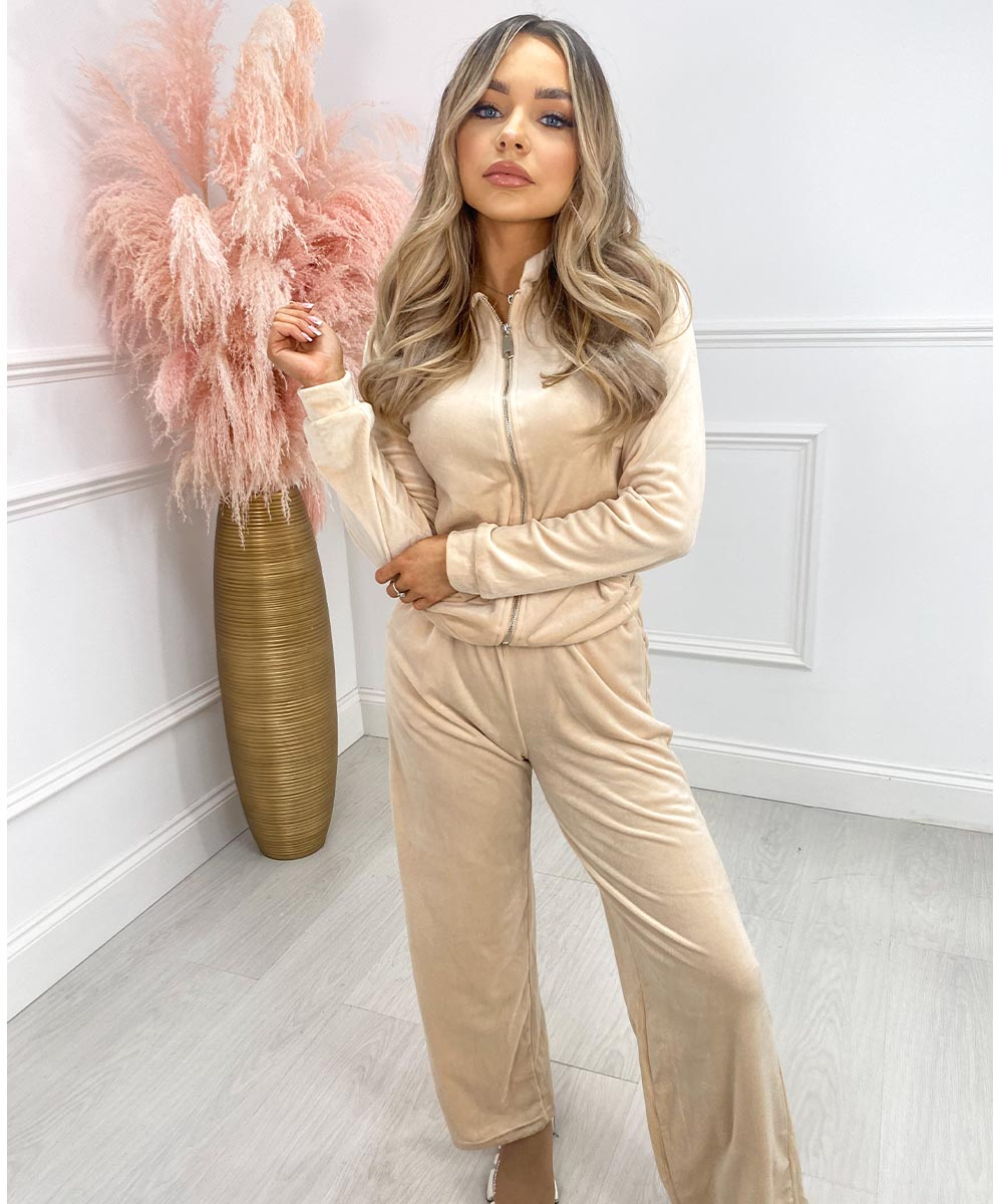 Wide Leg Velour Lounge Set In Beige