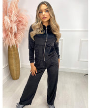 Wide Leg Velour Lounge Set In Black