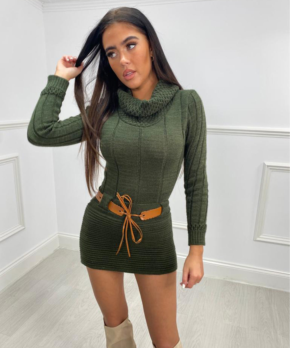 Roll Neck Belt Mini Dress - Khaki
