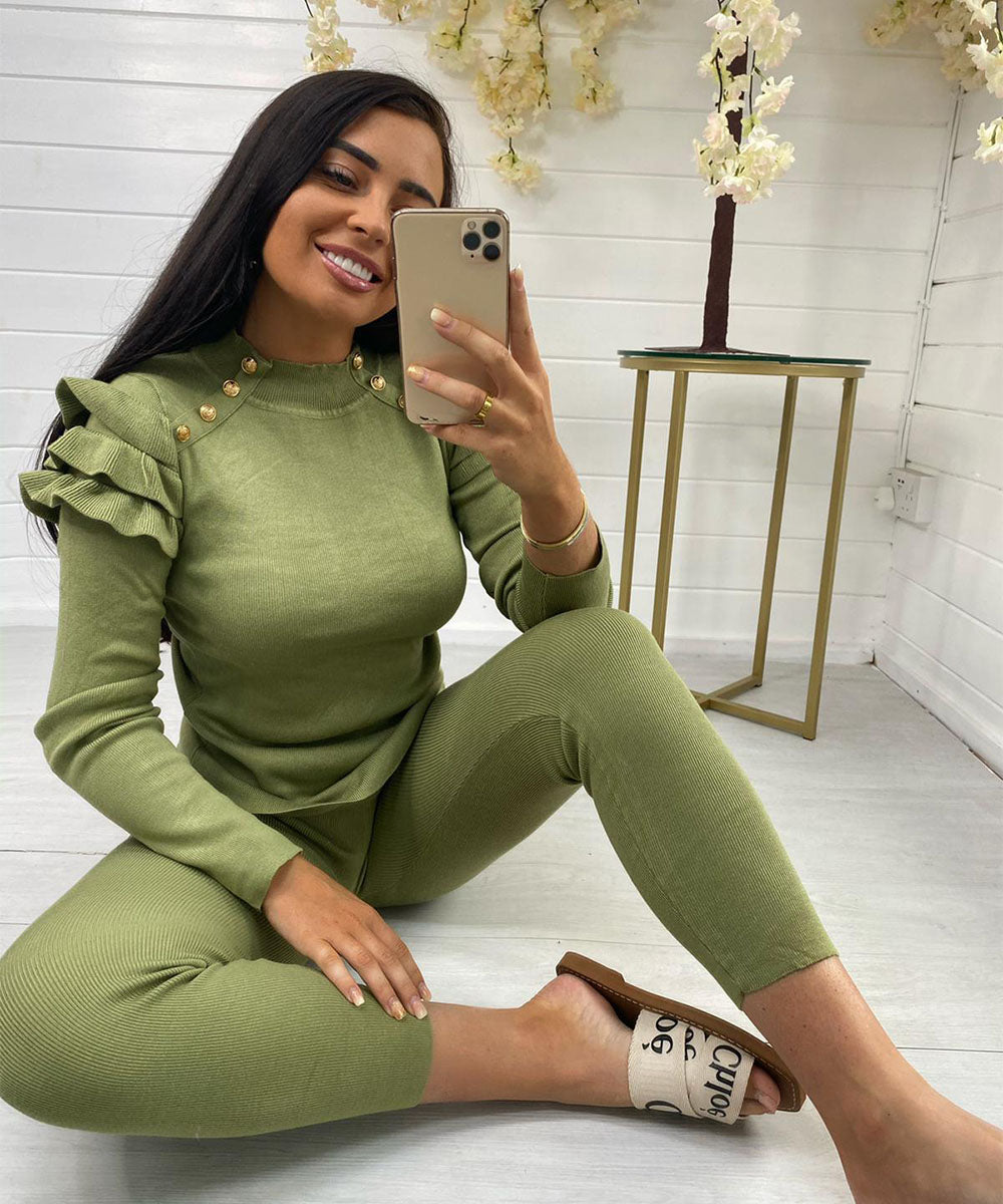 Olive Green Frill Button Lounge Set