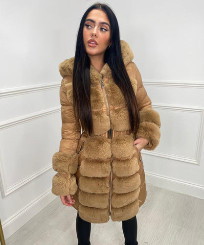 Hooded Long Faux Fur Belted Coat - TAN