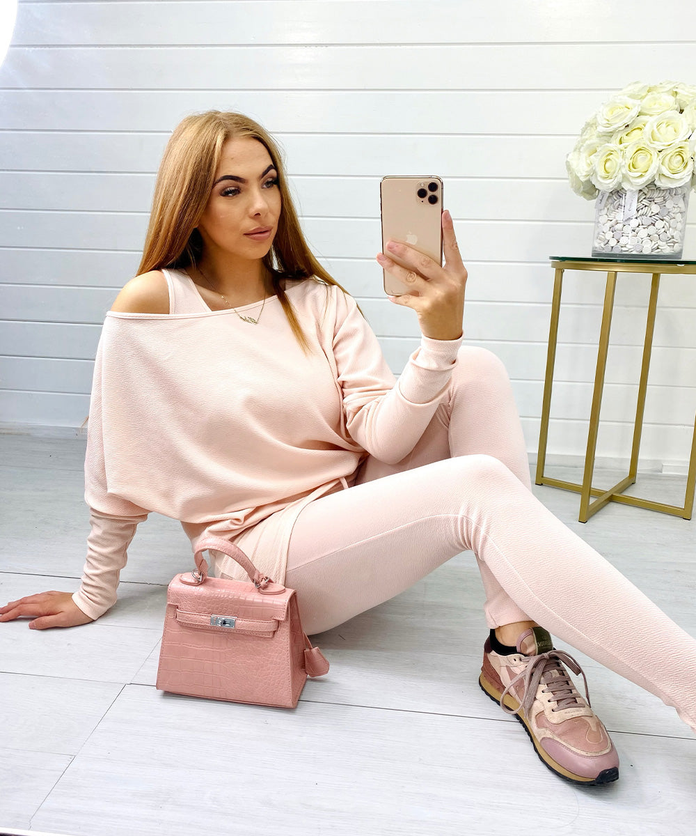 BELLA Pink Three Piece Vest Lounge Set