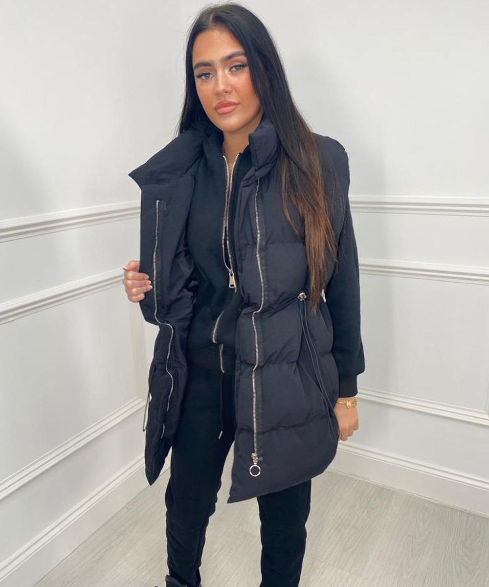 Three Piece Gilet Hoody Lounge Set In Black