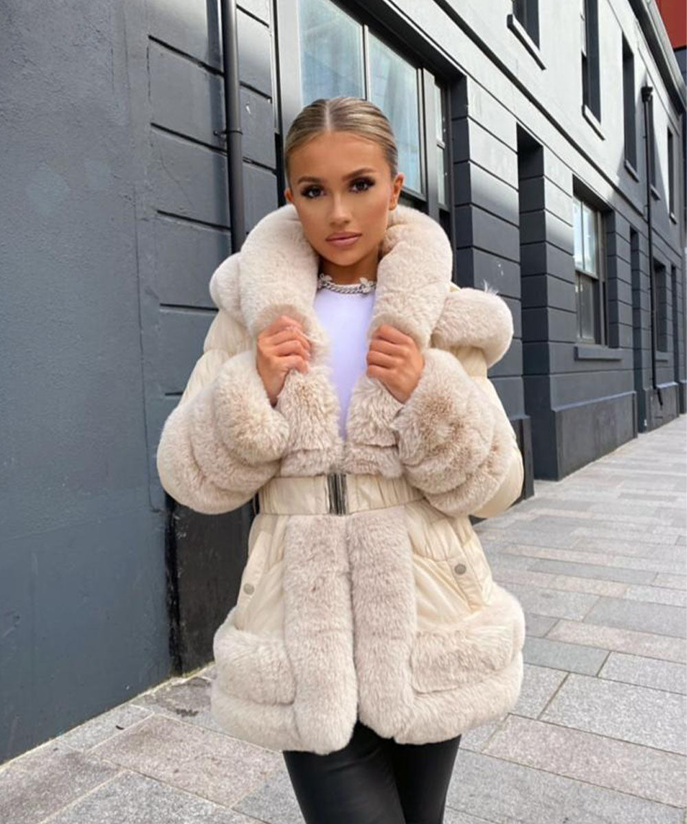 Hooded Faux Fur Coat Beige