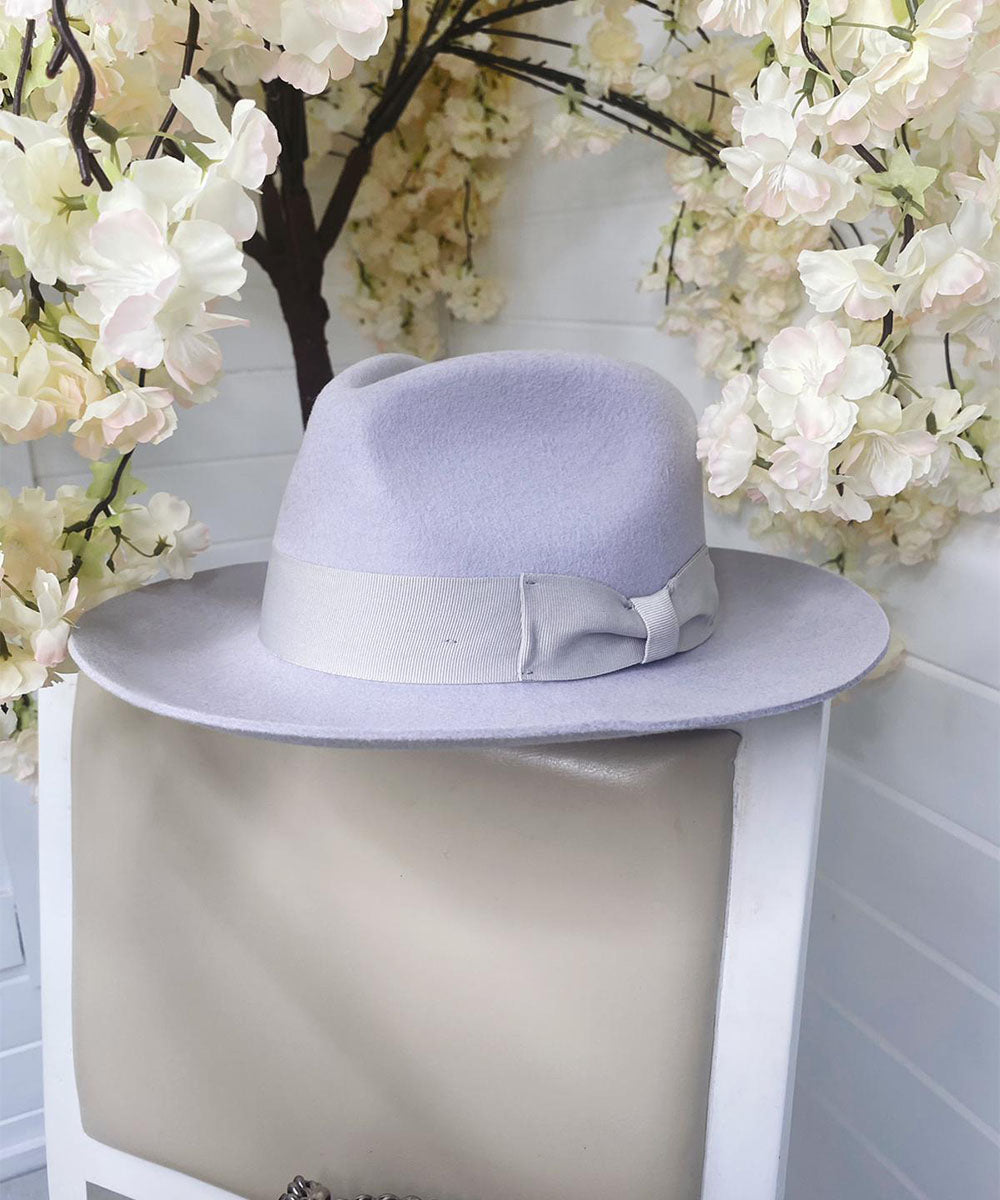 Grey Bow Fedora Hat
