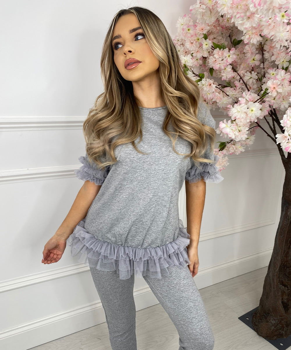 Tutu Hem Lounge Set In Grey