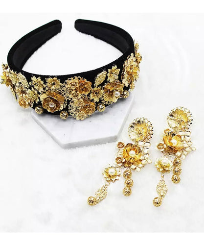 Indie Wide Gold Jewelled Headband