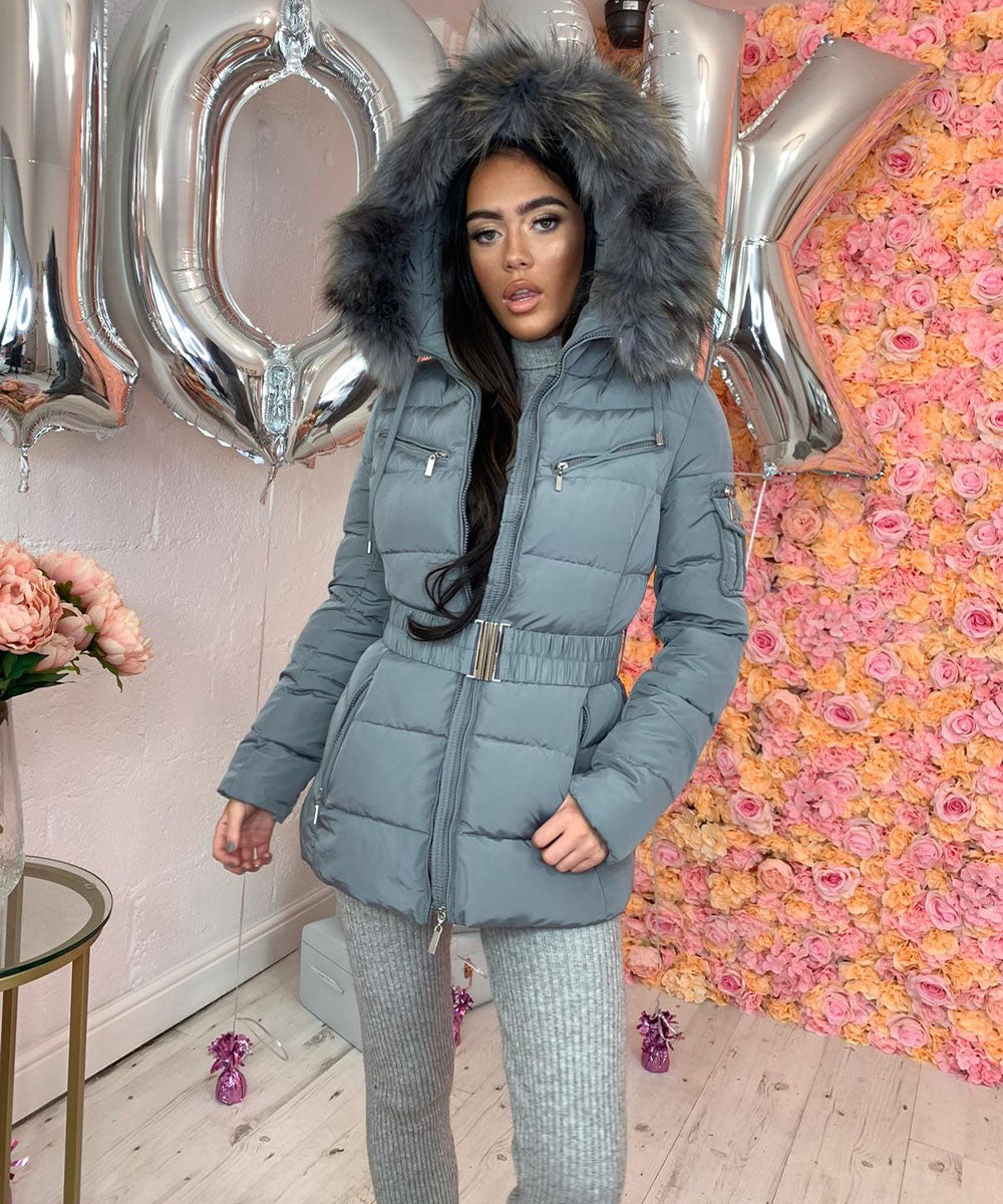 Grey with Grey Fur Hooded Pocket Coat