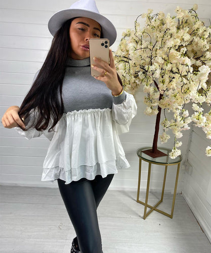 Grey Frill Shirt Jumper