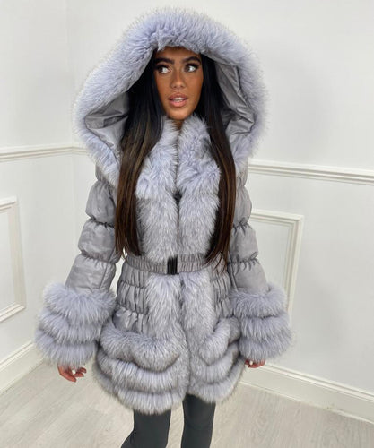 Three Row Fur Trim Hooded Coat - Grey