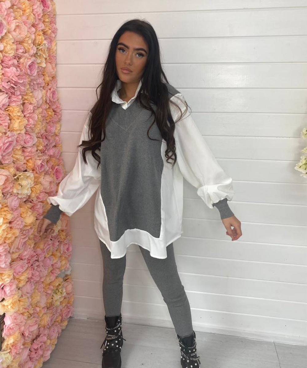 Maddie Shirt Lounge Set - Grey
