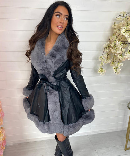 Black With Grey Long Faux Fur Belted Coat