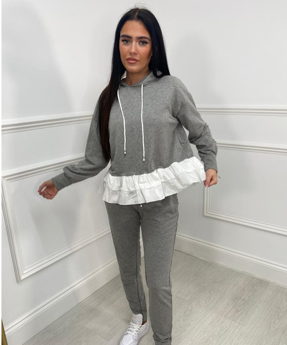 Hooded Pleated Lounge Set In Grey