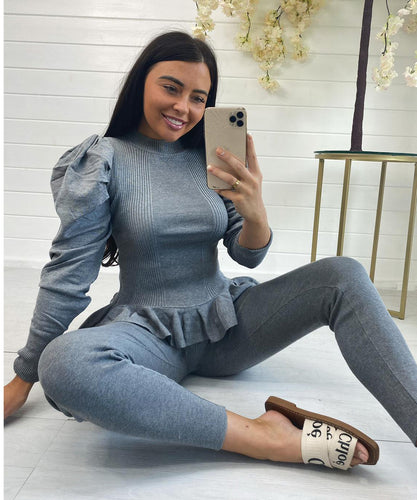 Puff Sleeve Peplum Style Lounge Set (Grey)