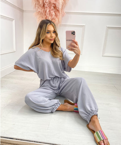 Belted Short Sleeve Jumpsuit In Grey
