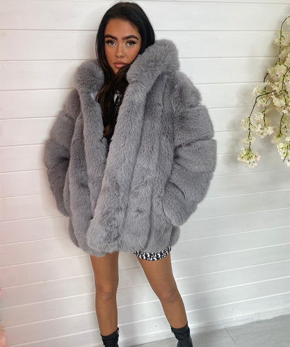Grey High Quality Faux Fur Coat