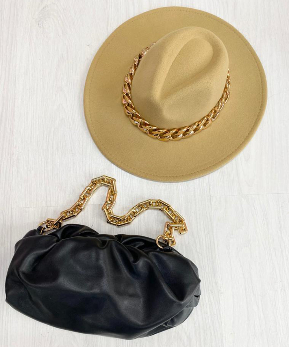 Chain Fedora Hat In Tan