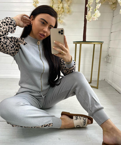 Grey Leopard Print Lounge Set
