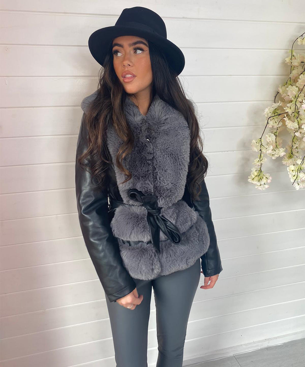 Faux Fur Short Leather Jacket - Black with Grey