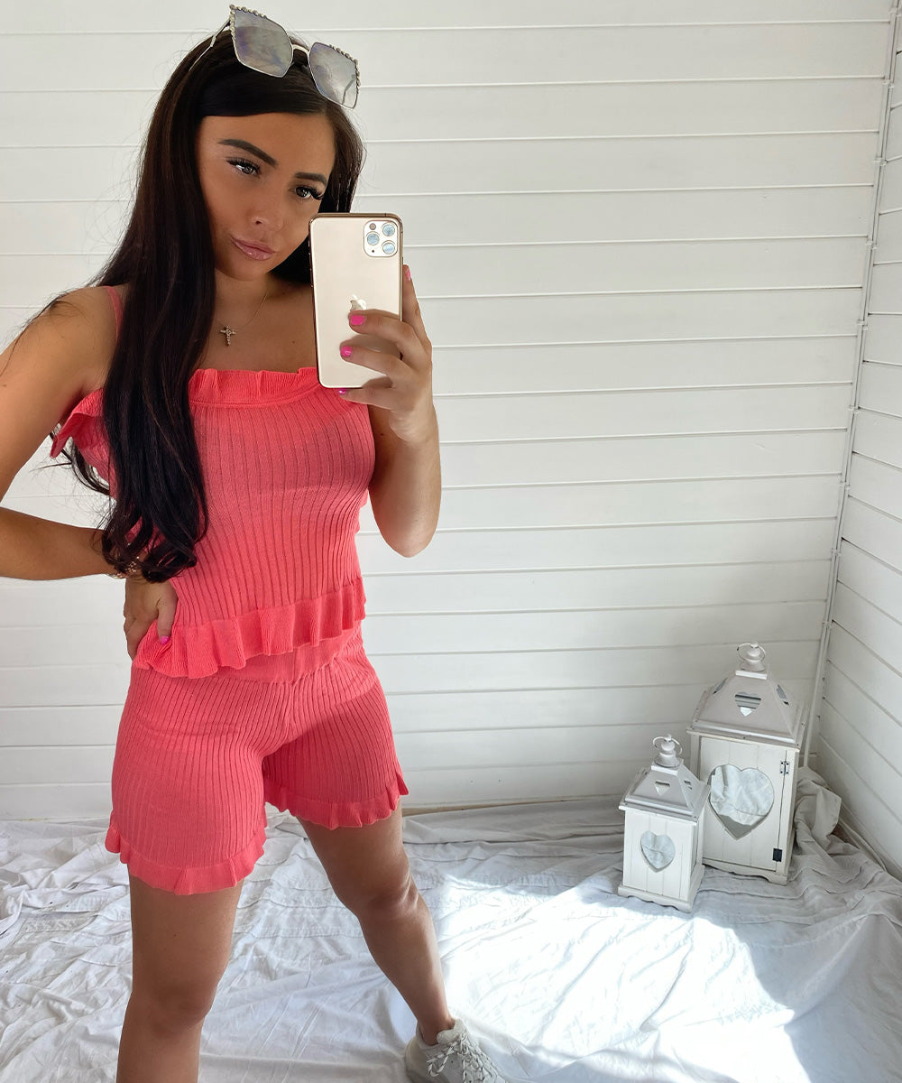 Coral Peplum Vest Short Set