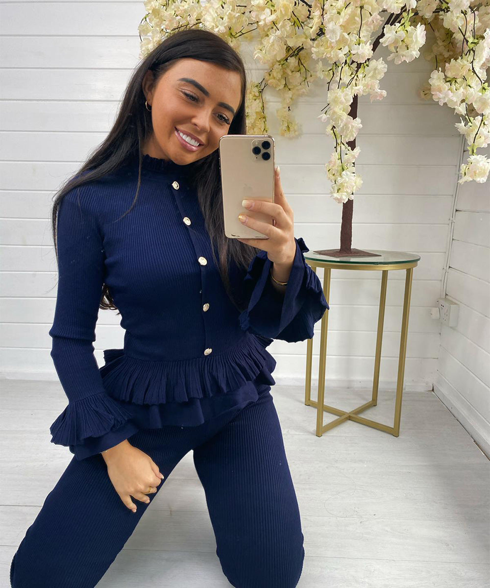 Navy Button Pleated Lounge Set