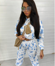 Baby Blue Hooded Tie Dye Jogger Set