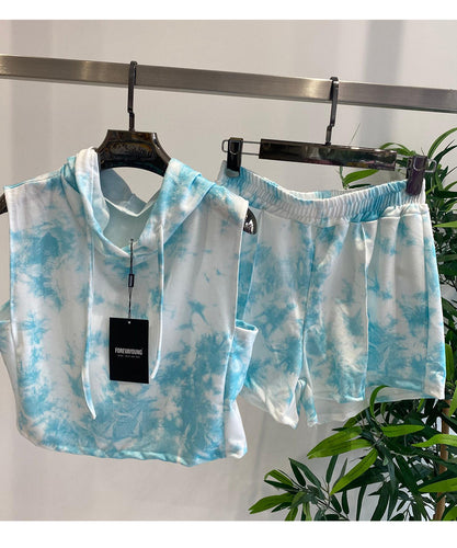 Baby Blue Tie Dye Hooded Short Set