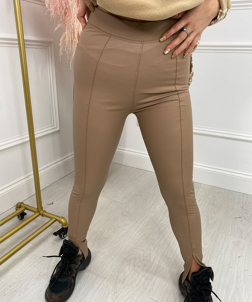 High Waisted Slit Leggings In Tan