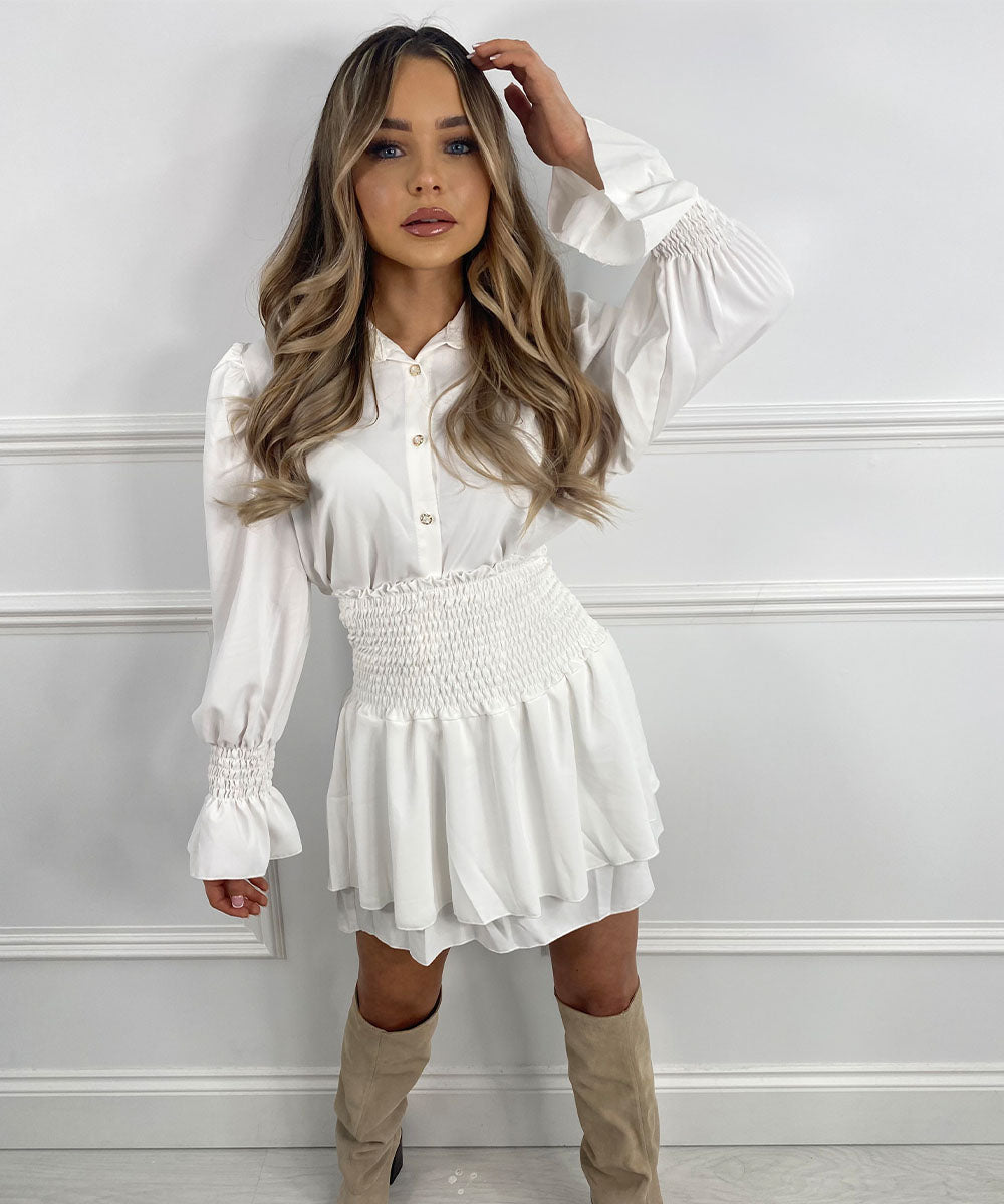 Button Skirt Set In White