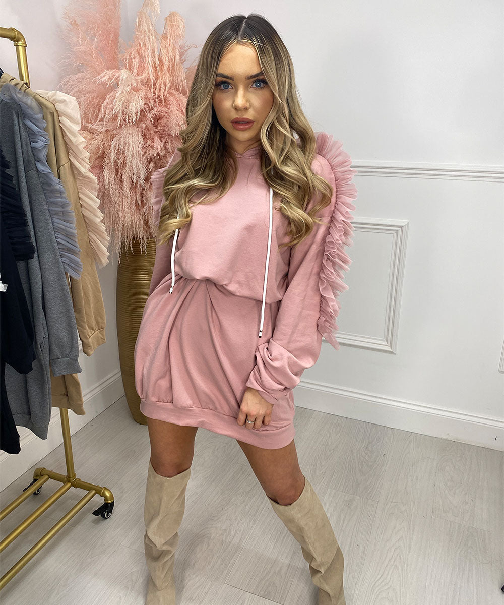 Frill Hooded Jumper Dress In Pink