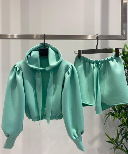 Hooded Ribbon Short Set In Mint