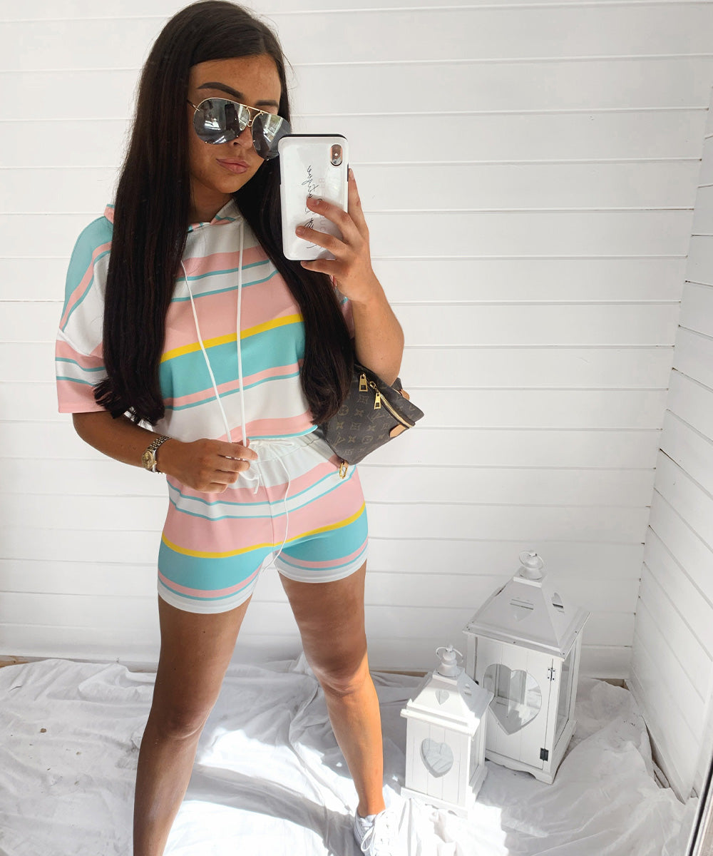 Stripe Hooded Short Set