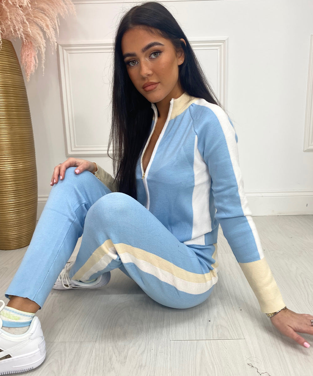 Contrast Zip Lounge Set In Blue