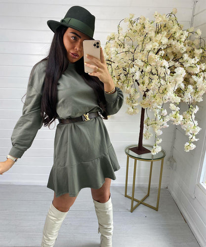 Khaki Oversized Pleated Dress