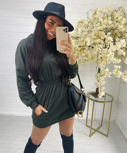 Khaki Hooded Jumper Dress