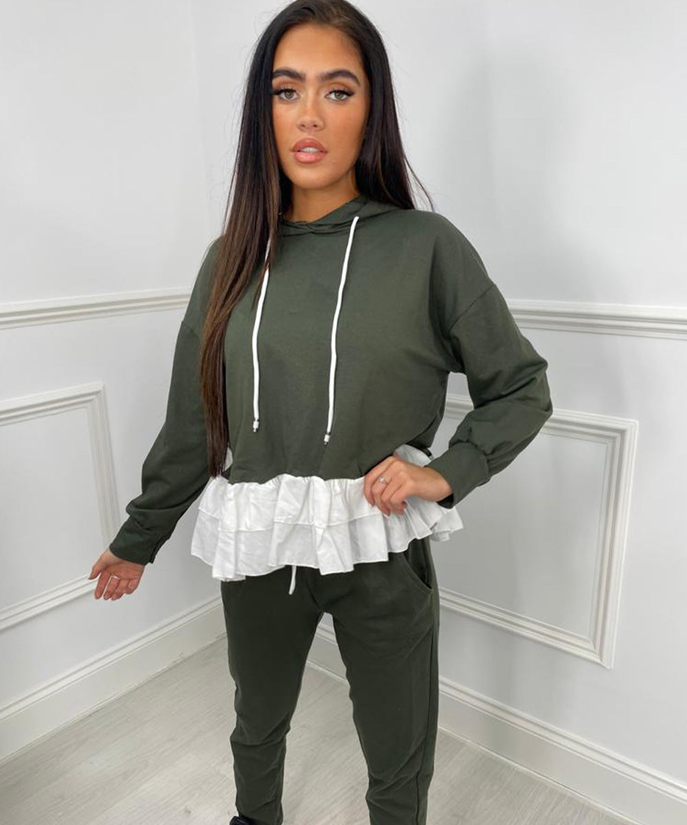Hooded Shirt Lounge Set - Khaki
