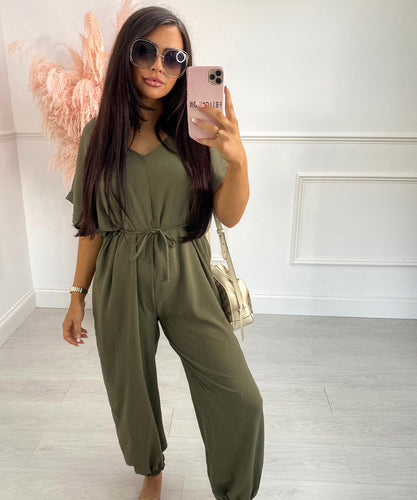 Belted Short Sleeve Jumpsuit In Khaki