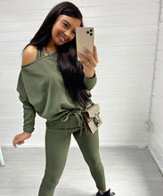BELLA Khaki Three Piece Vest Lounge Set