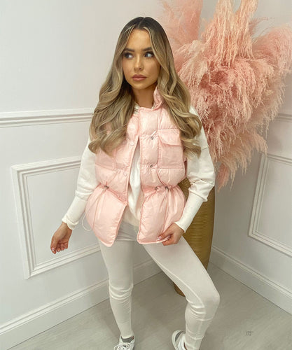 Double Button Bodywarmer In Baby Pink