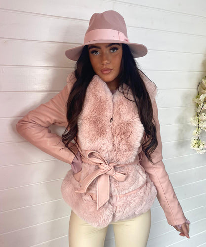 Faux Fur Short Leather Jacket - Pink
